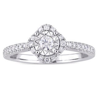 Laura Ashley 3/8ct TDW Diamond Square Halo Slender Band Engagement Ring in Sterling Silver