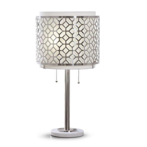 Merveilleux Melrose Geometric Brushed Nickel Table Lamp