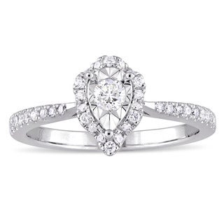 Laura Ashley 3/8ct TDW Pear-Cut Diamond Teardrop Halo Slender Band Engagement Ring in Sterling Silver (G-H, I2-I3)