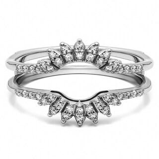 14k Gold 1/4ct TDW Diamond Contoured Wedding Ring Jacket
