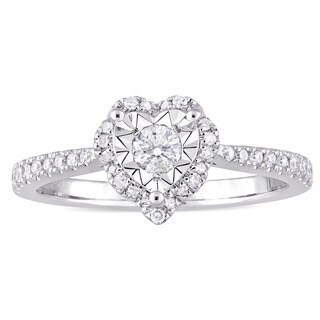 Laura Ashley 1/3ct TDW Diamond Heart Halo Slender Band Engagement Ring in Sterling Silver