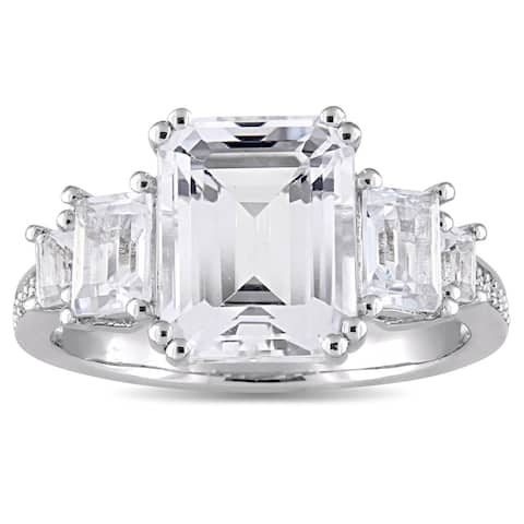 Miadora Sterling Silver White Topaz and Diamond Accent Vintage Engagement Ring