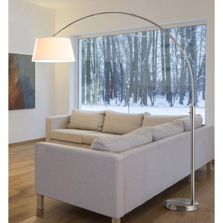 Orbita 82-inch Brushed Nickle Retractable Arch LED Floor Lamp with Dimmer and White Shade