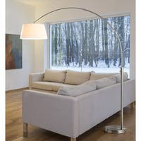 Orbita 82-inch Brushed Nickle Retractable Arch Dimmable Floor Lamp with 15W LED bulb and White Shade