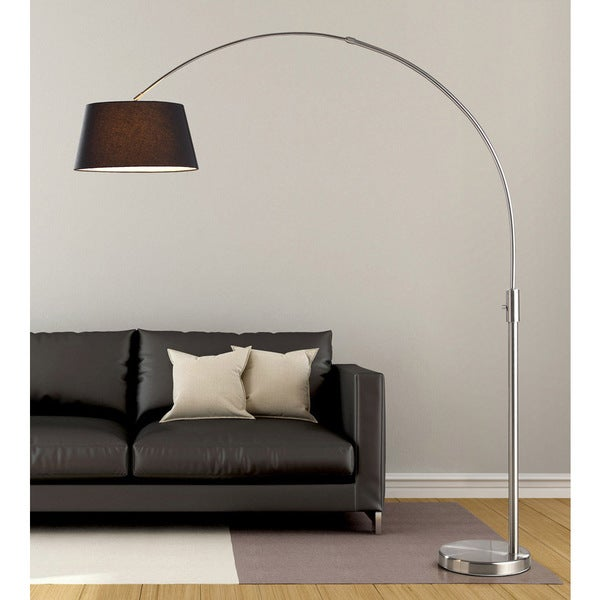 Orbita 82-inch Brushed Nickle Retractable Arch LED Floor Lamp with Dimmer and Black Shade