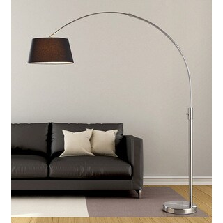 Orbita 82-inch Brushed Nickle Retractable Arch Floor Lamp with Dimmer, LED Bulb and Black Shade