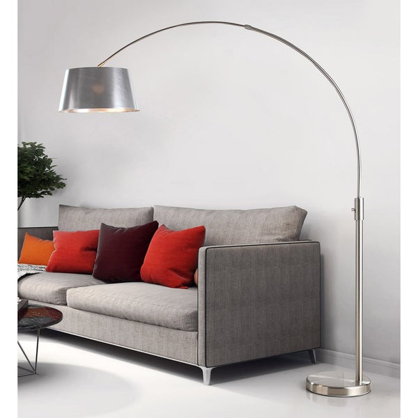 Orbita 82-inch Brushed Nickel Retractable Arch Dimmable Floor Lamp with LED Bulb and Silver Shade