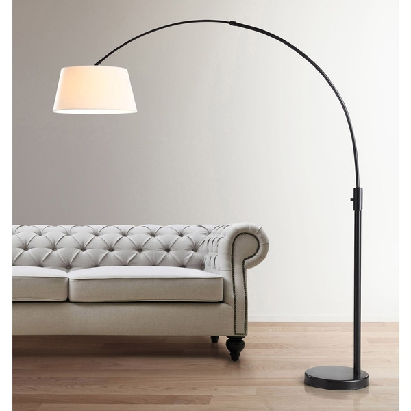 Orbita 82-inch Dark Bronze Retractable Arch LED Floor Lamp with Dimmer and White Shade