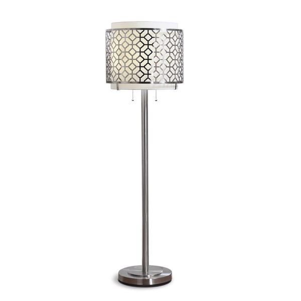 Melrose Brushed Nickel Geometric Floor Lamp