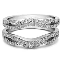 Sterling Silver 1/2ct TW Sapphire Double Infinity Wedding Ring Guard Enhancer