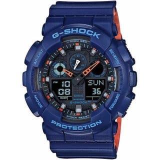 626d6d1a2 Shop Casio G-Shock GA-100L-2A Black Blue Resin Analog/Digital Quartz Men's  Watch - Free Shipping Today - Overstock - 14790911