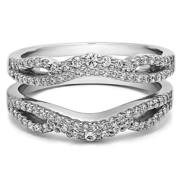 Sterling Silver 12ct TW Diamond Double Infinity Wedding Ring Guard