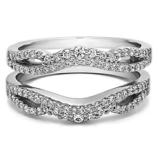 10k Gold 1/2ct TGW Cubic Zirconia Double Infinity Wedding Ring Guard Enhancer