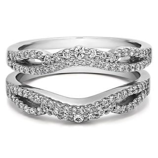 sterling silver 12ct tgw cubic zirconia double infinity wedding ring guard enhancer - Wedding Ring Guard