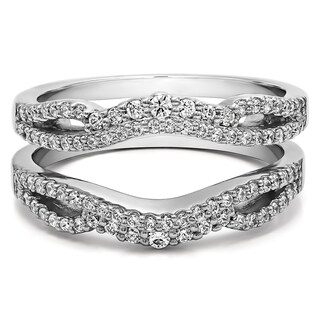 Sterling Silver 1/2ct TGW Cubic Zirconia Double Infinity Wedding Ring Guard Enhancer