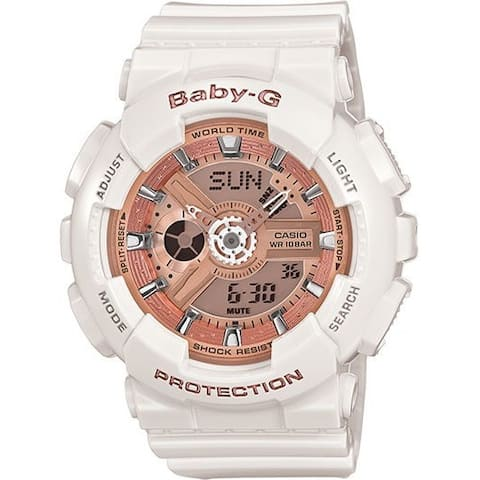Casio Women's 'Baby-G' Analog-Digital White Resin Watch - Rose-Tone