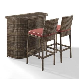 Bradenton Outdoor Brown Wicker 3-Piece Bar Set with Sangria Cushions