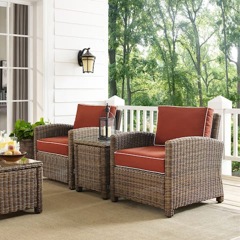 Bradenton Outdoor All-Weather Wicker 3-Piece Conversation Set with Sangria Cushions