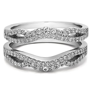 Sterling Silver 1/2ct TDW Diamond Double Infinity Wedding Ring Guard Enhancer (Option: Pink)|https://ak1.ostkcdn.com/images/products/14790985/P21311449.jpg?_ostk_perf_=percv&impolicy=medium
