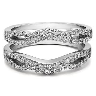 Sterling Silver 1/2ct TDW Diamond Double Infinity Wedding Ring Guard Enhancer (Option: Pink)|https://ak1.ostkcdn.com/images/products/14790985/P21311449.jpg?impolicy=medium