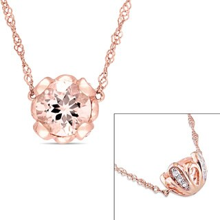 Miadora Signature Collection 10k Rose Gold Morganite and White Topaz Hemisphere Station Necklace