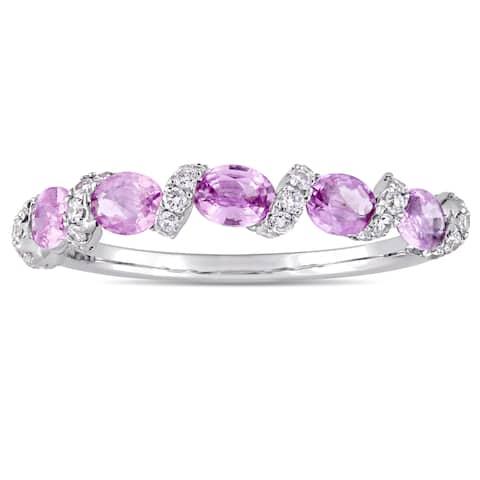 Miadora Signature Collection 14k White Gold Light Pink Sapphire and 1/4ct TDW Diamond Swirl Annivers