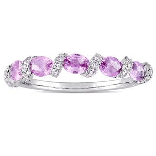 Miadora Signature Collection 14k White Gold Light Pink Sapphire and 1/4ct TDW Diamond Swirl Anniversary Band (G-H,I1-I2)