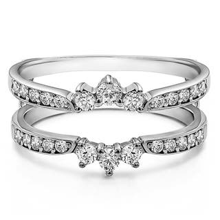 sterling silver 35ct tgw cubic zirconia crown inspired half halo wedding ring guard - Wedding Ring Wraps