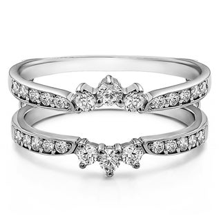Sterling Silver 3/5ct TDW Diamond Crown Inspired Half Halo Wedding Ring Guard Enhancer