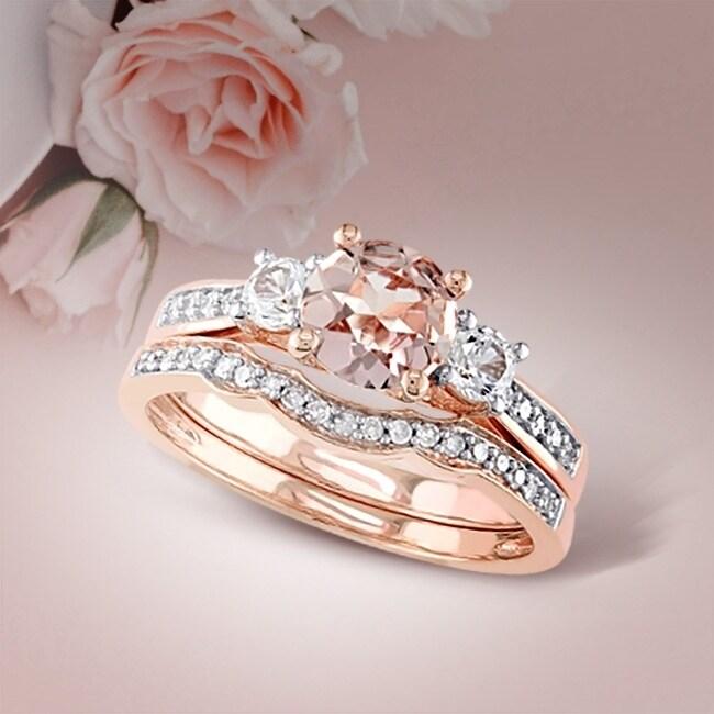 Morganite Wedding Set.Miadora Signature Collection 10k Rose Gold Morganite Created White Sapphire And 1 6ct Tdw Diamond Bridal Set Pink