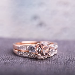 Miadora Signature Collection 10k Rose Gold Morganite, Created White Sapphire, and 1/6ct TDW Diamond Bridal Ring Set