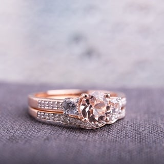 Miadora Signature Collection 10k Rose Gold Morganite, Created White Sapphire and 1/6ct TDW Diamond Bridal Set