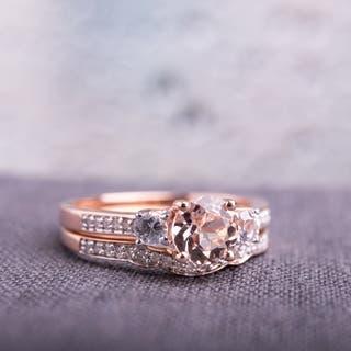 Miadora Signature Collection 10k Rose Gold Morganite, Created White Sapphire and 1/6ct TDW Diamond Bridal Set - Pink