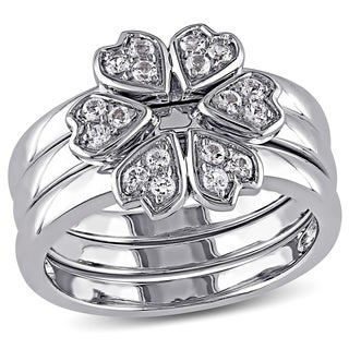 Miadora Sterling Silver White Topaz Clover Flower 3-Piece Stackable Ring Set