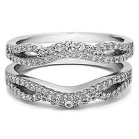 14k Gold 1/2ct TGW Cubic Zirconia Double Infinity Wedding Ring Guard Enhancer