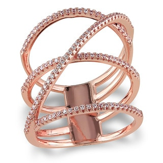 Miadora Rose Gold Plated Sterling Silver Cubic Zirconia Multi-Row Crossover Statement Ring