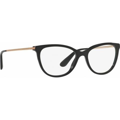 Dolce & Gabbana Women's DG3258 501 52 Cateye Plastic Black Clear Eyeglasses