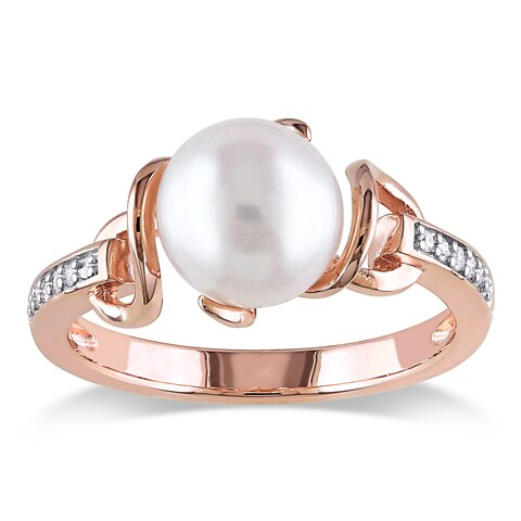Miadora Rose Gold Plated Sterling Silver Cultured Freshwater Pearl and Diamond Solitaire Twist State