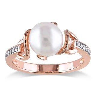 Miadora Rose Gold Plated Sterling Silver Cultured Freshwater Pearl and Diamond Solitaire Twist Statement Ring (8-8.5mm)