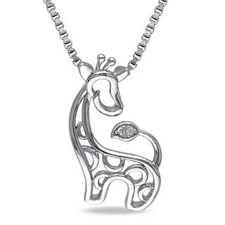 Miadora Sterling Silver Diamond Accent Giraffe Openwork Dangle Necklace