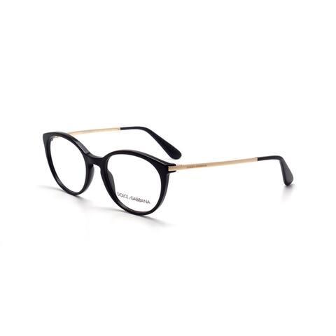 Dolce & Gabbana Women's DG3242 501 50 Round Metal Plastic Black Clear Eyeglasses