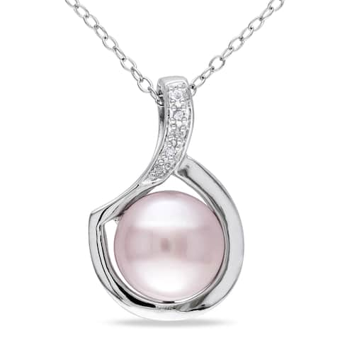 Miadora Sterling Silver Pink Cultured Freshwater Pearl and Diamond Accent Floating Swirl Dangle Necklace (9-9.5 mm)