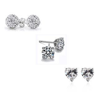 Hakbaho Jewelry Sterling Silver Cubic Zirconia Butterfly Earrings(Pack of 3)