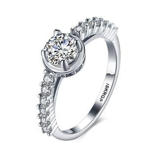 White Gold Plated Cubic Zircon Lining Classic Ring
