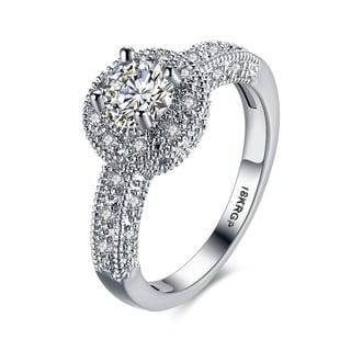 Hakbaho Jewelry White Gold Plated Center Cubic Zircon Main Ring