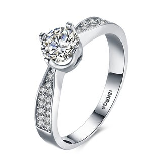 White Gold Plated Twisted Swarovski Elements Ring