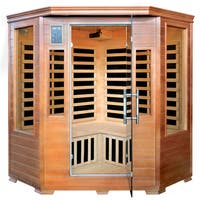 3-Person Hemlock Corner Infrared Sauna w/ 7 Carbon Heaters