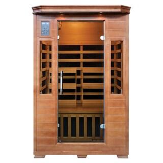 2-Person Hemlock Premium Infrared Sauna w/ 6 Carbon Heaters