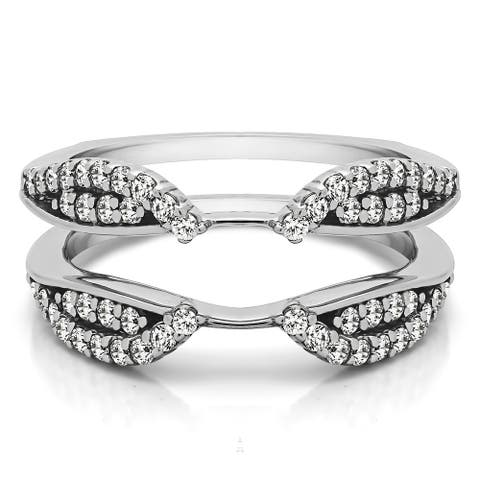 Sterling Silver 3/5ct TGW Cubic Zirconia Cathedral Infinity Ring Guard Enhancer