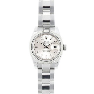 Pre-owned Rolex Mid 2000's Model 179174 Women's Datejust Stainless Steel Silver Dial Watch
